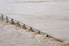 Flood. Over flood road, Prague, Czech Republic royalty free stock photos