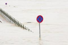 Flood. Over flood road, Prague, Czech Republic royalty free stock images