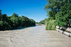 Flood - overflow of water of the Isar river in the center of Mun Royalty Free Stock Images