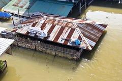 Flood in Pak Kret distric, Nonthaburi Thailandi. Bangkok Thailand October 2011: Flood in Pak kret market, Nonthaburi province, the water from Chao praya river royalty free stock photography