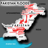 Flood in Pakistan. Map of flood in Pakistan marked with red text and color Stock Photography