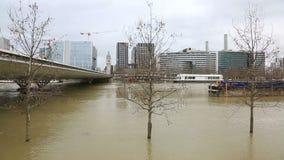 Flood in Paris - Cityscape stock video