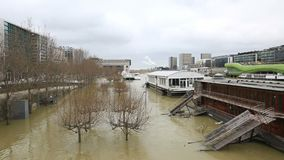 Flood in Paris - Cityscape stock video footage