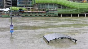 Flood in Paris stock video footage