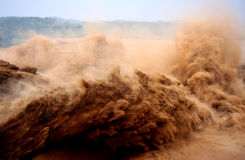 FLOOD PEAK of A MAN-MADE DAM. Xiaolangdi Reservoir in Henan Province is carriying  out  water and sediment regulations,the flood peak is very high and beautiful Stock Images