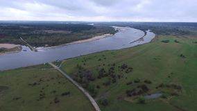 Flood polders, aerial view. Vistula River, queen of polish rivers, aerial view, cloudy sky, space, beautiful view stock footage