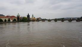 Flood in Prague. Charles bridge, Vltava river Royalty Free Stock Photography