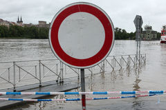 Flood in Prague, Czech Republic, June 2003. PRAGUE, CZECH REPUBLIC - JUNE 2, 2013: No entry for vehicles, a traffic sign on the embankment flooded by the royalty free stock images