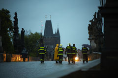Flood in Prague. PRAGUE - JUNE 2: The Czech Capital - Prague is on high alert as a swell of floodwater moves in from the south. Charles Bridge is closed by stock photo