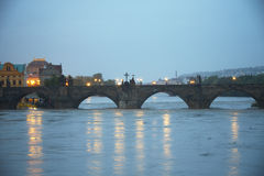 Flood in Prague. PRAGUE - JUNE 2: The Czech Capital - Prague is on high alert as a swell of floodwater moves in from the south. Charles Bridge is closed by stock images