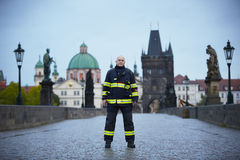 Flood in Prague. PRAGUE - JUNE 2: Fireman Vaclav Kratochvil on Charles Bridge. The Czech Capital - Prague is on high alert as a swell of floodwater moves in from stock image