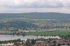Flood in Prague. Flood on the river Vltava and Berounka in Prague, Czech republic royalty free stock images