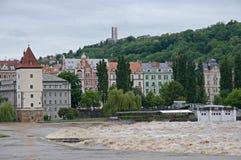 Flood in Prague. Flood on the river Vltava in Prague , Czech republic royalty free stock image