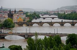 Flood in Prague. Flood on the river Vltava in Prague , Czech republic stock photo
