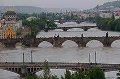 Flood in Prague. Flood on the river Vltava in Prague , Czech republic stock photos