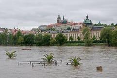 Flood in Prague. Flood on the river Vltava in Prague , Czech republic royalty free stock photo