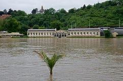 Flood in Prague. Flood on the river Vltava in Prague , Czech republic stock images