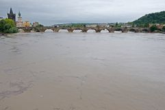 Flood in Prague. Flood on the river Vltava in Prague, Czech republic royalty free stock images