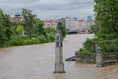 Flood in Prague. Flood on the river Vltava in Prague, Czech republic royalty free stock image