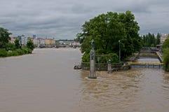 Flood in Prague. Flood on the river Vltava in Prague, Czech republic stock photography