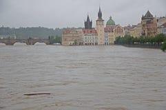 Flood in Prague. Flood on the river Vltava in Prague, Czech republic stock image