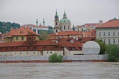 Flood in Prague. Flood on the river Vltava in Prague, Czech republic royalty free stock photography