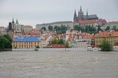 Flood in Prague. Flood on the river Vltava in Prague, Czech republic stock photos