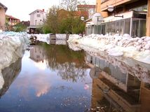 Flood protection. Street under the water Royalty Free Stock Images
