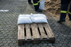 Flood Protection. Firemen working on a Flood Protection Stock Photography
