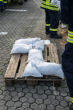 Flood Protection. Firemen working on a Flood Protection Royalty Free Stock Image