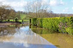 Flood at Pub Restaurant Car Park, Romsey, Hants Royalty Free Stock Images