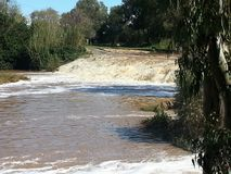 Flood in Ramat Gan National Park. On one of the trips, a stream passing through the Ramat Gan National Park was overflowing Stock Photos