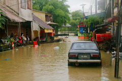 Flood in Rantau Panjang Royalty Free Stock Photos
