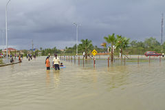 Flood in Rantau Panjang Stock Photo
