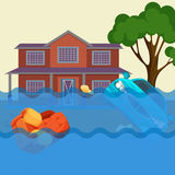 Flood realistic natural disaster vector illustration. Cottage house, car, trees Royalty Free Stock Photos