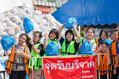 Flood relief supply. NAKHONRATCHASIMA, THAILAND - OCT 22 : Government offices, NGOs and volunteers collected relief supplies for sufferers about flood crisis in royalty free stock photography