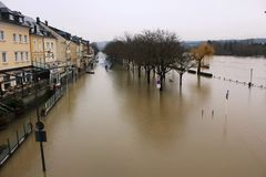 Flood in Remich, Luxembourg. Flood in Remich located next to Moselle, the main river in Luxembourg, after a heavy rain. The little town under water royalty free stock images