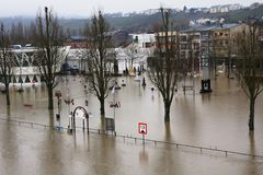 Flood in Remich, Luxembourg. Flood in Remich located next to Moselle, the main river in Luxembourg. The little town under water royalty free stock images