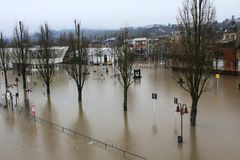 Flood in Remich, Luxembourg. Flood in Remich located next to Moselle, the main river in Luxembourg. The little town under water royalty free stock photography