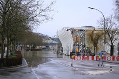 Flood in Remich, Luxembourg. Flood in Remich located next to Moselle, the main river in Luxembourg. The little town under water stock photography