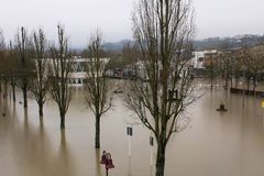 Flood in Remich, Luxembourg. Flood in Remich located next to Mossel, the main river in Luxembourg. The little town under water Royalty Free Stock Image