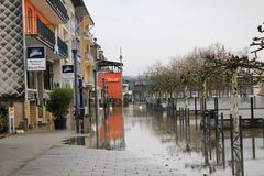 Flood in Remich, Luxembourg. Flood in Remich located next to Moselle, the main river in Luxembourg, after a heavy rain. The little town under water stock image