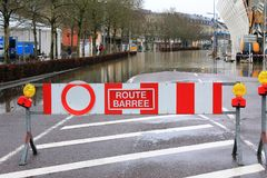 Flood in Remich, Luxembourg. Flood in Remich located next to Moselle, the main river in Luxembourg, after a heavy rain. The little town under water royalty free stock photo
