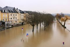 Flood in Remich, Luxembourg. Flood in Remich located next to Moselle, the main river in Luxembourg, after a heavy rain. The little town under water royalty free stock photos