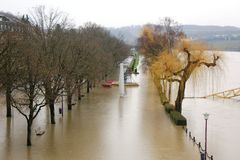 Flood in Remich, Luxembourg. Flood in Remich located next to Moselle, the main river in Luxembourg, after a heavy rain. The little town under water stock photo