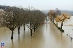 Flood in Remich, Luxembourg. Flood in Remich located next to Moselle, the main river in Luxembourg, after a heavy rain. The little town under water royalty free stock image