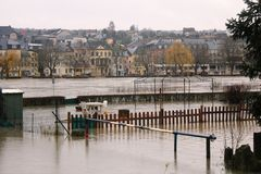 Flood in Remich, Luxembourg. Flood in Remich located next to Moselle, the main river in Luxembourg, after a heavy rain. The little town under water stock photography