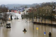Flood in Remich, Luxembourg. Flood in Remich located next to Moselle, the main river in Luxembourg. The little town under water royalty free stock photos