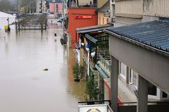 Flood in Remich, Luxembourg. Flood in Remich located next to Moselle, the main river in Luxembourg. The little town under water stock image