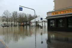 Flood in Remich, Luxembourg. Flood in Remich located next to Moselle, the main river in Luxembourg. The little town under water royalty free stock photo